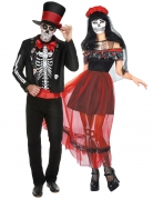Farbenfrohes Dia de los Muertos-Pärchen Halloween-Paarkostüm für Erwachsene bunt
